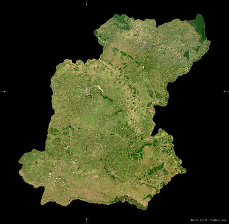 Roi Et, province of Thailand. Sentinel-2 satellite imagery. Shape isolated on black. Description, location of the capital. Contains modified Copernicus Sentinel data