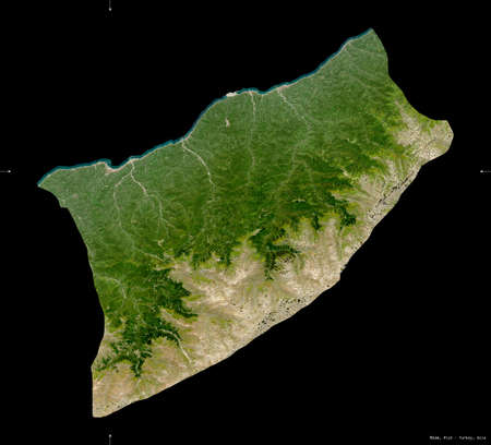 Rize, province of Turkey. Sentinel-2 satellite imagery. Shape isolated on black. Description, location of the capital. Contains modified Copernicus Sentinel data