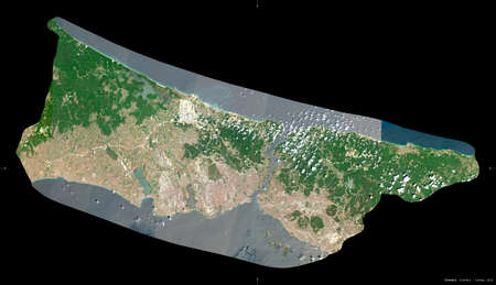 Istanbul, province of Turkey. Sentinel-2 satellite imagery. Shape isolated on black. Description, location of the capital. Contains modified Copernicus Sentinel data