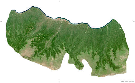 Trabzon, province of Turkey. Sentinel-2 satellite imagery. Shape isolated on white. Description, location of the capital. Contains modified Copernicus Sentinel data