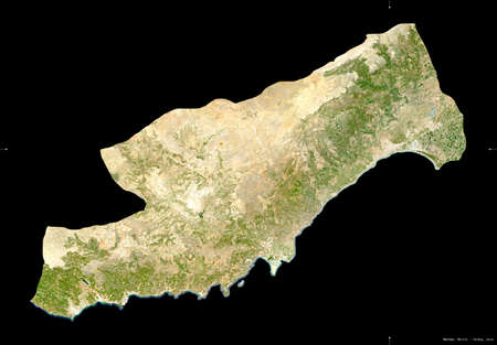 Mersin, province of Turkey. Sentinel-2 satellite imagery. Shape isolated on black. Description, location of the capital. Contains modified Copernicus Sentinel data