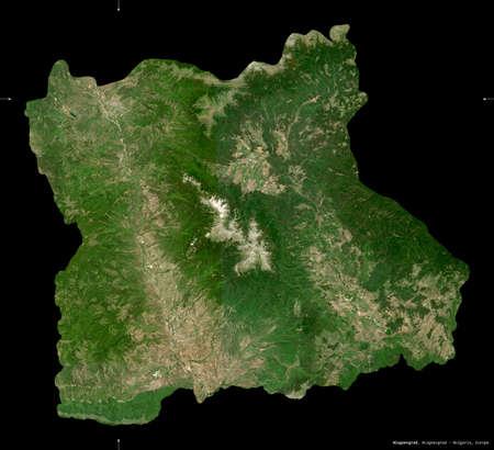 Blagoevgrad, province of Bulgaria. Sentinel-2 satellite imagery. Shape isolated on black. Description, location of the capital. Contains modified Copernicus Sentinel data Stock Photo
