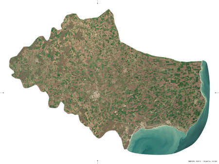 Dobrich, province of Bulgaria. Sentinel-2 satellite imagery. Shape isolated on white. Description, location of the capital. Contains modified Copernicus Sentinel data