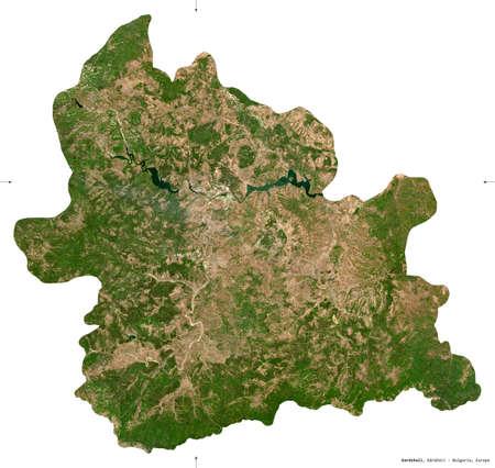 Kardzhali, province of Bulgaria. Sentinel-2 satellite imagery. Shape isolated on white. Description, location of the capital. Contains modified Copernicus Sentinel data Stock Photo