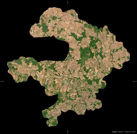 Razgrad, province of Bulgaria. Sentinel-2 satellite imagery. Shape isolated on black. Description, location of the capital. Contains modified Copernicus Sentinel data Stock Photo
