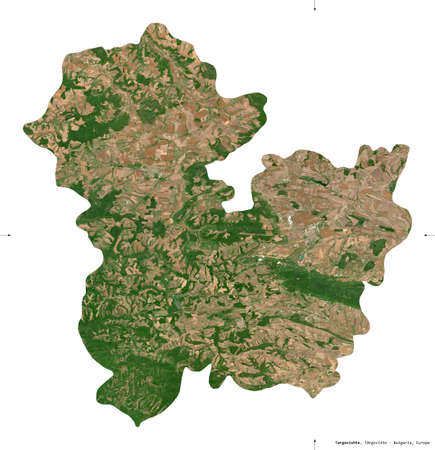 Targovishte, province of Bulgaria. Sentinel-2 satellite imagery. Shape isolated on white. Description, location of the capital. Contains modified Copernicus Sentinel data