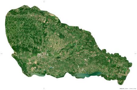 Medimurska, county of Croatia. Sentinel-2 satellite imagery. Shape isolated on white. Description, location of the capital. Contains modified Copernicus Sentinel data