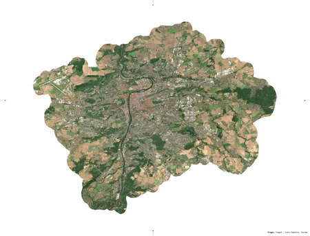 Prague, region of Czech Republic. Sentinel-2 satellite imagery. Shape isolated on white solid. Description, location of the capital. Contains modified Copernicus Sentinel data Reklamní fotografie