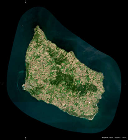 Bornholm, island of Denmark. Sentinel-2 satellite imagery. Shape isolated on black. Description, location of the capital. Contains modified Copernicus Sentinel data