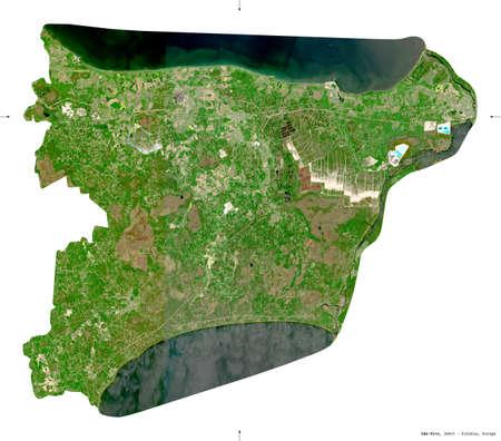 Ida-Viru, county of Estonia. Sentinel-2 satellite imagery. Shape isolated on white. Description, location of the capital. Contains modified Copernicus Sentinel data