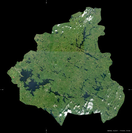 Kainuu, region of Finland. Sentinel-2 satellite imagery. Shape isolated on black. Description, location of the capital. Contains modified Copernicus Sentinel data Stock Photo