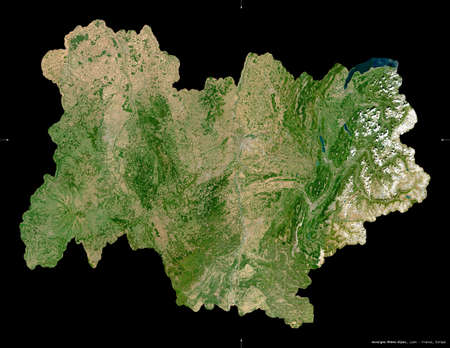 Auvergne-Rhone-Alpes, region of France. Sentinel-2 satellite imagery. Shape isolated on black. Description, location of the capital. Contains modified Copernicus Sentinel data