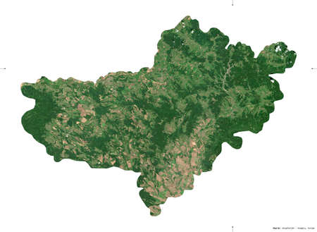 Nograd, county of Hungary. Sentinel-2 satellite imagery. Shape isolated on white. Description, location of the capital. Contains modified Copernicus Sentinel data Stock Photo