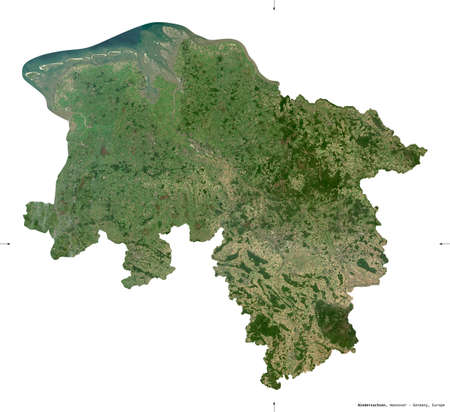 Niedersachsen, state of Germany. Sentinel-2 satellite imagery. Shape isolated on white. Description, location of the capital. Contains modified Copernicus Sentinel data
