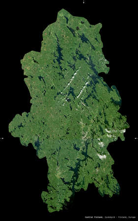 Central Finland, region of Finland. Sentinel-2 satellite imagery. Shape isolated on black. Description, location of the capital. Contains modified Copernicus Sentinel data