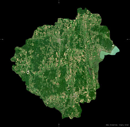 Zala, county of Hungary. Sentinel-2 satellite imagery. Shape isolated on black. Description, location of the capital. Contains modified Copernicus Sentinel data