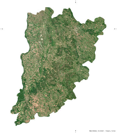 Bacs-Kiskun, county of Hungary. Sentinel-2 satellite imagery. Shape isolated on white. Description, location of the capital. Contains modified Copernicus Sentinel data