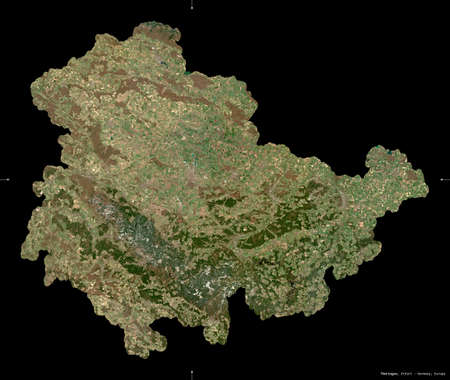 Thuringen, state of Germany. Sentinel-2 satellite imagery. Shape isolated on black. Description, location of the capital. Contains modified Copernicus Sentinel data