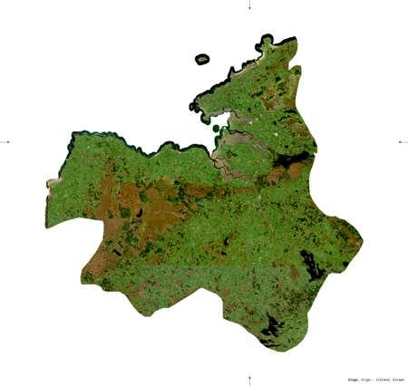 Sligo, county of Ireland. Sentinel-2 satellite imagery. Shape isolated on white. Description, location of the capital. Contains modified Copernicus Sentinel data
