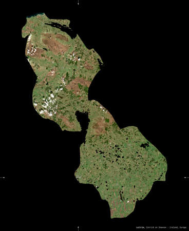 Leitrim, county of Ireland. Sentinel-2 satellite imagery. Shape isolated on black. Description, location of the capital. Contains modified Copernicus Sentinel data Stock Photo