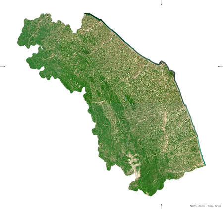 Marche, region of Italy. Sentinel-2 satellite imagery. Shape isolated on white. Description, location of the capital. Contains modified Copernicus Sentinel data