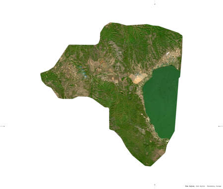 Star Dojran, municipality of Macedonia. Sentinel-2 satellite imagery. Shape isolated on white. Description, location of the capital. Contains modified Copernicus Sentinel data
