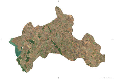 Riscani, district of Moldova. Sentinel-2 satellite imagery. Shape isolated on white. Description, location of the capital. Contains modified Copernicus Sentinel data