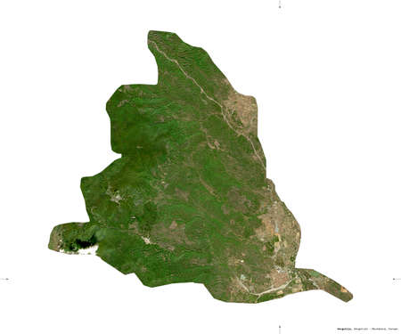 Gevgelija, municipality of Macedonia. Sentinel-2 satellite imagery. Shape isolated on white. Description, location of the capital. Contains modified Copernicus Sentinel data