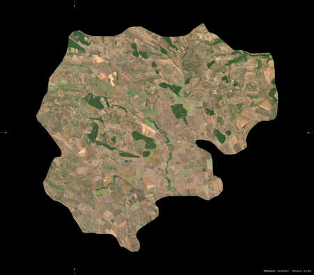 Donduseni, district of Moldova. Sentinel-2 satellite imagery. Shape isolated on black. Description, location of the capital. Contains modified Copernicus Sentinel data