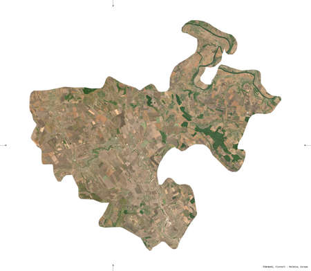 Floresti, district of Moldova. Sentinel-2 satellite imagery. Shape isolated on white. Description, location of the capital. Contains modified Copernicus Sentinel data