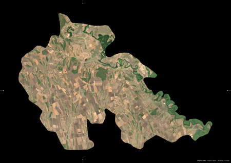 Stefan Voda, district of Moldova. Sentinel-2 satellite imagery. Shape isolated on black. Description, location of the capital. Contains modified Copernicus Sentinel data