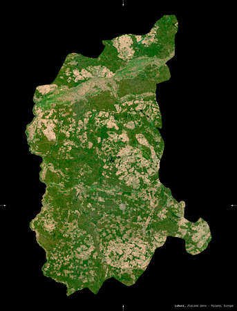 Lubusz, voivodeship|province of Poland. Sentinel-2 satellite imagery. Shape isolated on black. Description, location of the capital. Contains modified Copernicus Sentinel data Stock fotó