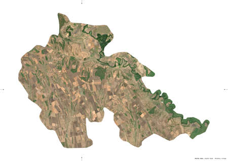 Stefan Voda, district of Moldova. Sentinel-2 satellite imagery. Shape isolated on white. Description, location of the capital. Contains modified Copernicus Sentinel data