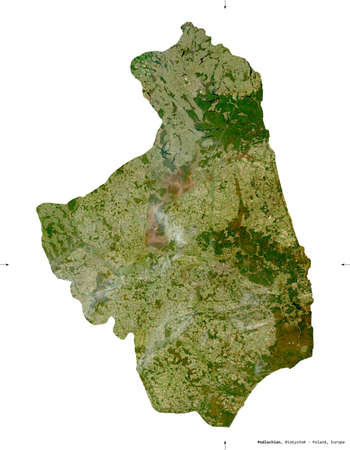 Podlachian, voivodeship|province of Poland. Sentinel-2 satellite imagery. Shape isolated on white. Description, location of the capital. Contains modified Copernicus Sentinel data