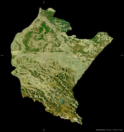 Subcarpathian, voivodeship|province of Poland. Sentinel-2 satellite imagery. Shape isolated on black. Description, location of the capital. Contains modified Copernicus Sentinel data
