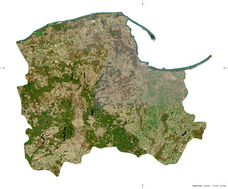 Pomeranian, voivodeship|province of Poland. Sentinel-2 satellite imagery. Shape isolated on white. Description, location of the capital. Contains modified Copernicus Sentinel data