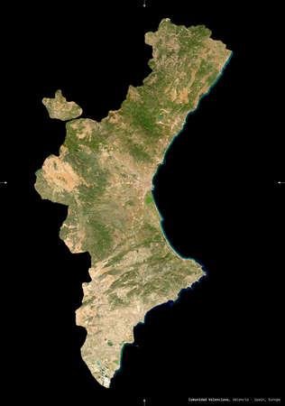 Comunidad Valenciana, autonomous community of Spain. Sentinel-2 satellite imagery. Shape isolated on black. Description, location of the capital. Contains modified Copernicus Sentinel data