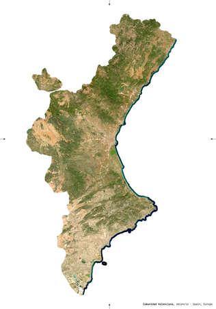 Comunidad Valenciana, autonomous community of Spain. Sentinel-2 satellite imagery. Shape isolated on white. Description, location of the capital. Contains modified Copernicus Sentinel data