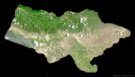Bahoruco, province of Dominican Republic. Sentinel-2 satellite imagery. Shape isolated on black. Description, location of the capital. Contains modified Copernicus Sentinel data
