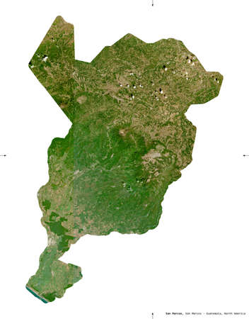 San Marcos, department of Guatemala. Sentinel-2 satellite imagery. Shape isolated on white solid. Description, location of the capital. Contains modified Copernicus Sentinel data