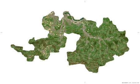 Basel-Landschaft, canton of Switzerland. Sentinel-2 satellite imagery. Shape isolated on white. Description, location of the capital. Contains modified Copernicus Sentinel data