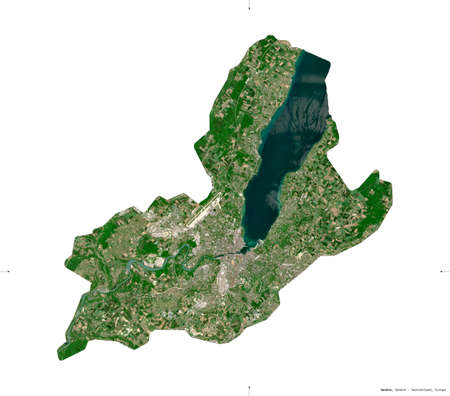 Geneve, canton of Switzerland. Sentinel-2 satellite imagery. Shape isolated on white. Description, location of the capital. Contains modified Copernicus Sentinel data