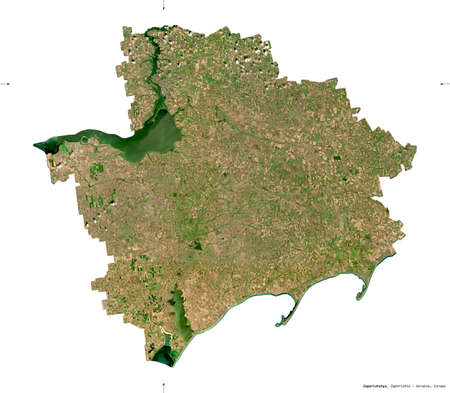 Zaporizhzhya, region of Ukraine. Sentinel-2 satellite imagery. Shape isolated on white. Description, location of the capital. Contains modified Copernicus Sentinel data