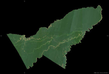 Pando, department of Bolivia. Sentinel-2 satellite imagery. Shape isolated on black. Description, location of the capital. Contains modified Copernicus Sentinel data