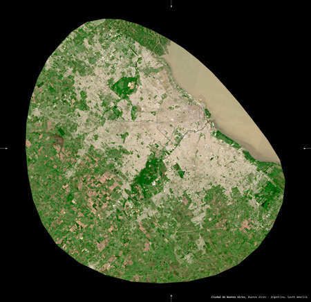 Ciudad de Buenos Aires, federal district of Argentina. Sentinel-2 satellite imagery. Shape isolated on black. Description, location of the capital. Contains modified Copernicus Sentinel data