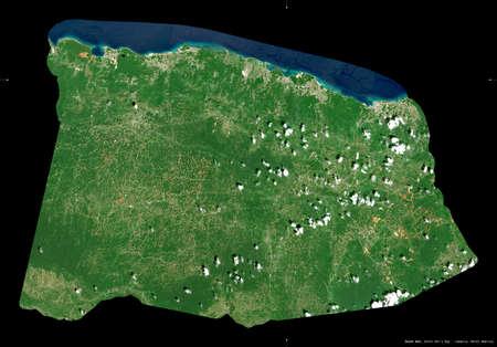 Saint Ann, parish of Jamaica. Sentinel-2 satellite imagery. Shape isolated on black. Description, location of the capital. Contains modified Copernicus Sentinel data