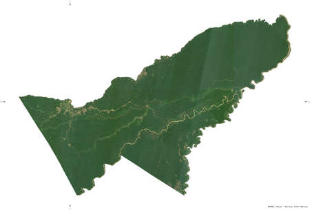 Pando, department of Bolivia. Sentinel-2 satellite imagery. Shape isolated on white solid. Description, location of the capital. Contains modified Copernicus Sentinel data