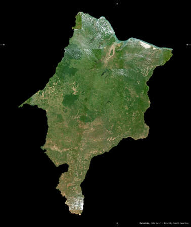 Maranhao, state of Brazil. Sentinel-2 satellite imagery. Shape isolated on black. Description, location of the capital. Contains modified Copernicus Sentinel data Stock Photo