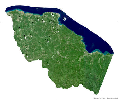 Saint Mary, parish of Jamaica. Sentinel-2 satellite imagery. Shape isolated on white. Description, location of the capital. Contains modified Copernicus Sentinel data Stock Photo
