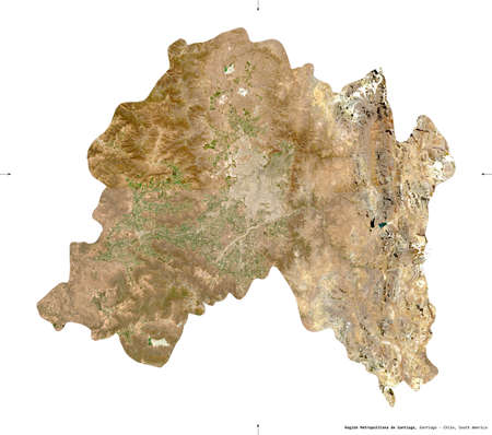 Region Metropolitana de Santiago, region of Chile. Sentinel-2 satellite imagery. Shape isolated on white solid. Description, location of the capital. Contains modified Copernicus Sentinel data Stock fotó